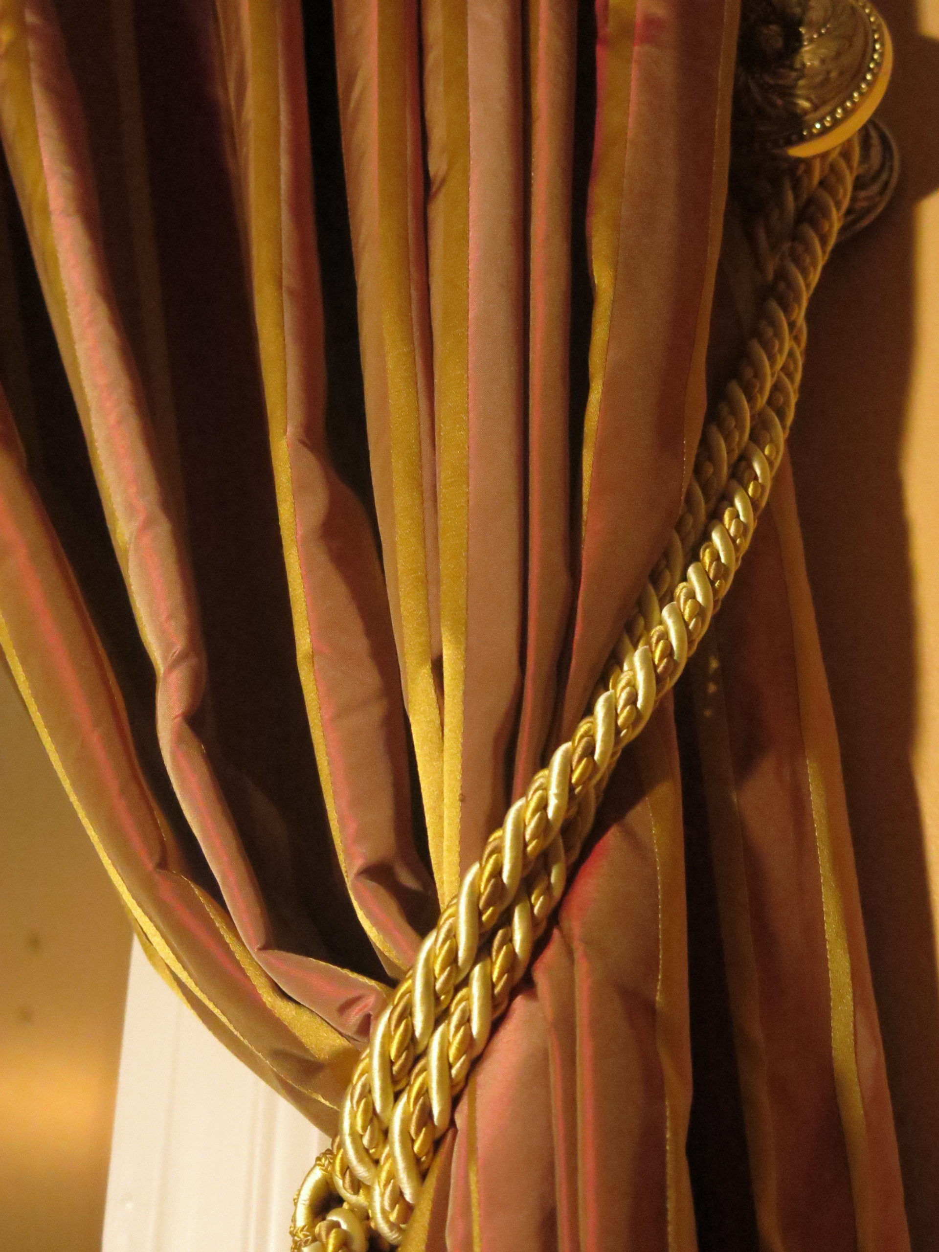 satin curtain with thick rope